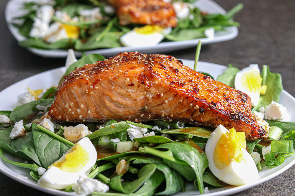 Air Fryer Sesame Salmon Spinach Salad